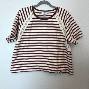 Old Navy Striped Sweater Short Sleeve Shirt